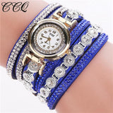 Ccq Brand Fashion Luxury Rhinestone Bracelet Watch Ladies Quartz Watch Casual Women Wristwatch Blue
