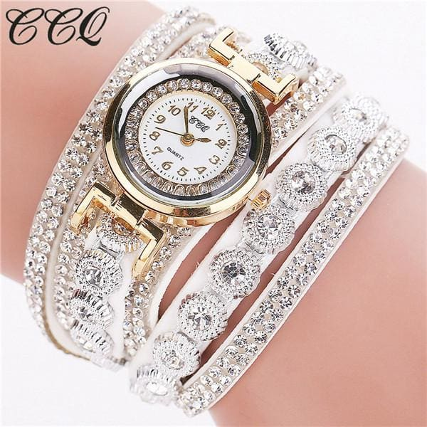 Ccq Brand Fashion Luxury Rhinestone Bracelet Watch Ladies Quartz Watch Casual Women Wristwatch White