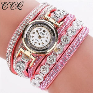 Ccq Brand Fashion Luxury Rhinestone Bracelet Watch Ladies Quartz Watch Casual Women Wristwatch Pink