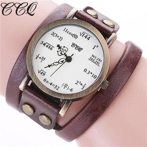 CCQ Brand Fashion Vintage Creative Leather Math Formula Equation Watch Casual Women Bracelet Quartz.