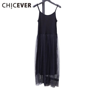 [CHICEVER] 2017 Sexy Off Shoulder Summer Women Dress Female Loose Spaghetti Strap Mesh Ladies Party