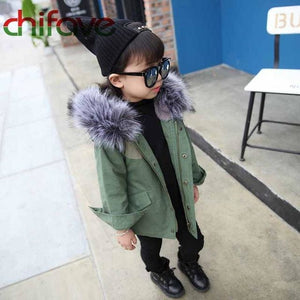 chifave New Winter Children Warm Cotton Coat Suit for Unisex Kids Hooded Fur Collar Zipper Thick