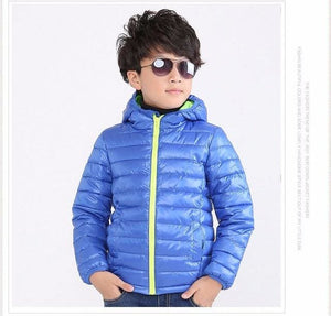 Childrens Outerwear Boy and Girl Winter Warm Hooded Coat Children Cotton-Padded Clothes boy Down Sky blue / 5
