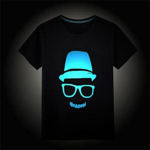 Childrens T-shirt Boys Girls Noctilucence Luminous Brand T-shirts Kids Hip Hop Neon Print Party Spiderma / 3T