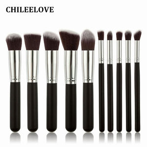 CHILEELOVE 10 Piece Pce/Set Base Cosmetics Makeover Makeup Brushes Kit For Women Foundation Blending