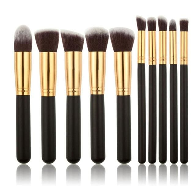 CHILEELOVE 10 Piece Pce/Set Base Cosmetics Makeover Makeup Brushes Kit For Women Foundation Blending Black