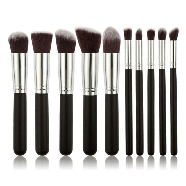 CHILEELOVE 10 Piece Pce/Set Base Cosmetics Makeover Makeup Brushes Kit For Women Foundation Blending Green