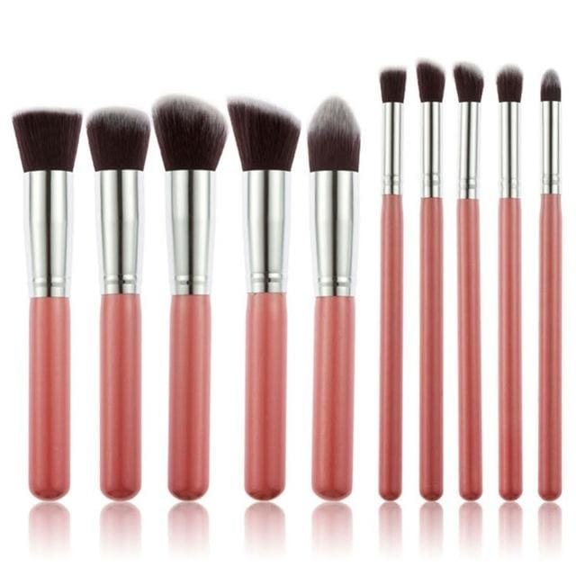 CHILEELOVE 10 Piece Pce/Set Base Cosmetics Makeover Makeup Brushes Kit For Women Foundation Blending Red