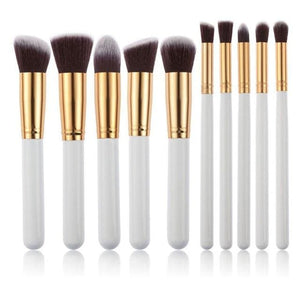 CHILEELOVE 10 Piece Pce/Set Base Cosmetics Makeover Makeup Brushes Kit For Women Foundation Blending Gray