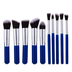 CHILEELOVE 10 Piece Pce/Set Base Cosmetics Makeover Makeup Brushes Kit For Women Foundation Blending Gold