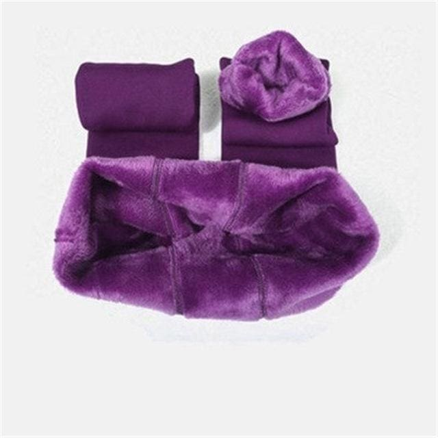 Chleisure S-Xl 8 Colors Winter Leggings Womens Warm Leggings High Waist Thick Velvet Legging Solid Purple / L