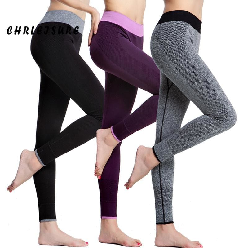 CHRLEISURE Women Leggings Spandex Slim Elastic Comfortable High Waist Super Stretch Workout Trousers