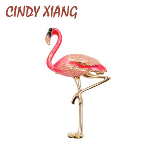CINDY XIANG Cute Enamel Flamingo Brooches Unisex Women and Men Brooch Pin Bird Animal Broches - MBMCITY