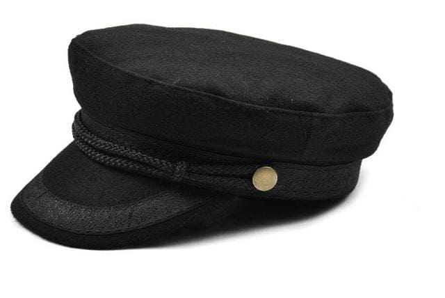 COKK Military Hat Winter Knitted Cap Flat Top Hats For Women Black Grey Male Female Casquette Black