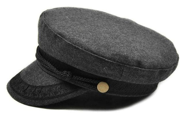 COKK Military Hat Winter Knitted Cap Flat Top Hats For Women Black Grey Male Female Casquette Gray