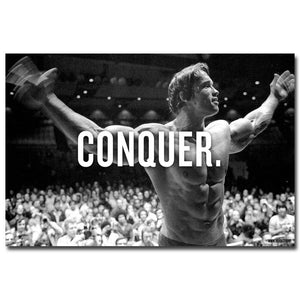 CONQUER Arnold Schwarzenegger Bodybuilding Motivational Quote Art Silk Poster Print 13x20 24x36inch - MBMCITY