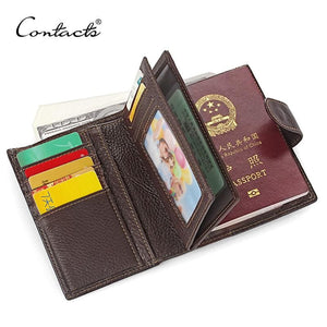CONTACT'S Real Genuine Leather Mens Passport Holder Wallets Man Cowhide Passport Cover Purse Brand - MBMCITY