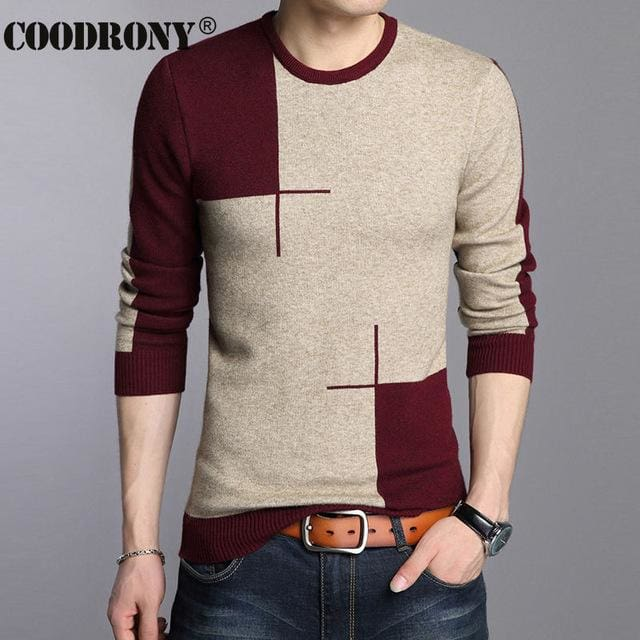 COODRONY 2017 Winter New Arrivals Thick Warm Sweaters O-Neck Wool Sweater Men Brand-Clothing Knitted Red / S