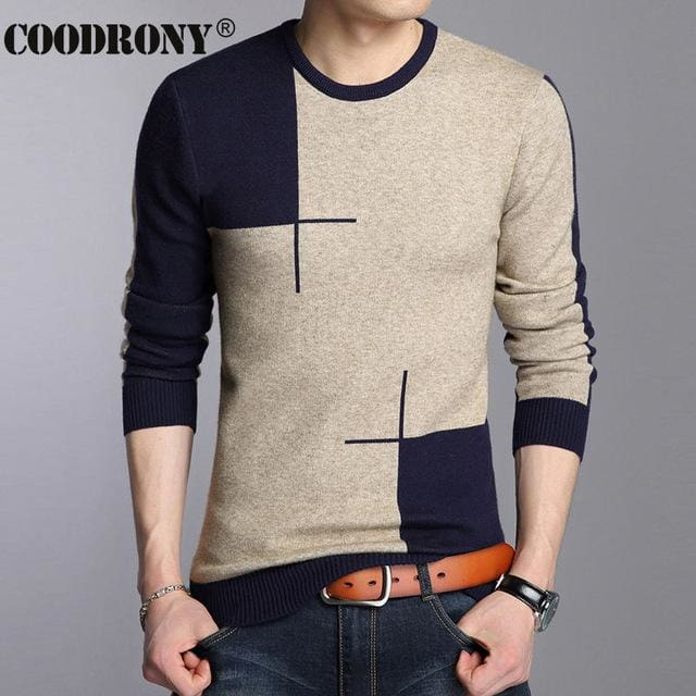 COODRONY 2017 Winter New Arrivals Thick Warm Sweaters O-Neck Wool Sweater Men Brand-Clothing Knitted Navy / S