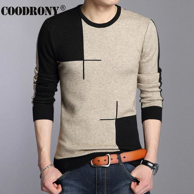COODRONY 2017 Winter New Arrivals Thick Warm Sweaters O-Neck Wool Sweater Men Brand-Clothing Knitted Black / S