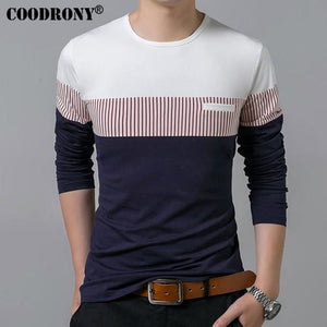 Coodrony T-Shirt Men 2018 Spring Autumn New Long Sleeve O-Neck T Shirt Men Brand Clothing Fashion Red / S