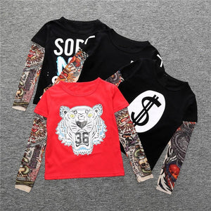 Cool Baby Boys Girls T shirts Tattoo Sleeve Children Mesh Long Sleeve Cotton Tops Tees 2017.