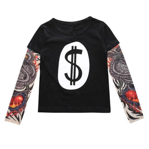 Cool Baby Boys Girls T shirts Tattoo Sleeve Children Mesh Long Sleeve Cotton Tops Tees 2017 Black / 12M
