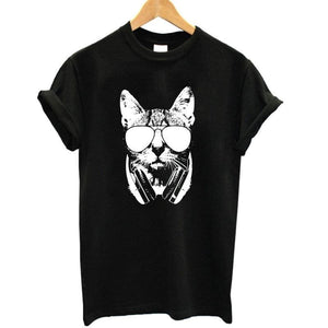 Coolmind Ca0211B Summer 100% Cotton Animal 3D Dj Cat Print Shirt O-Neck Short Sleeve T Shirt Women