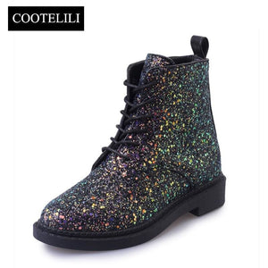 Cootelili Designers Brand Women Ankle Boots Heels Female Shoes Woman Autumn Glitter Lace Up Boots