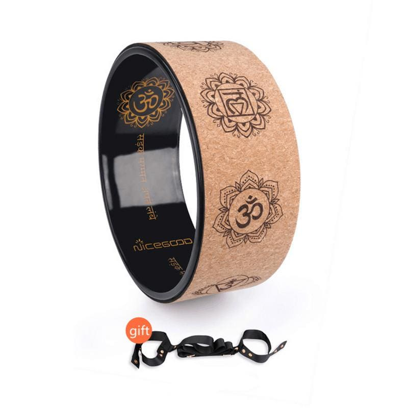 Cork Yoga Circle Painted Inner Laser Engraving Round Exercise Wheel Sports Bodybuilding Sliming Tool