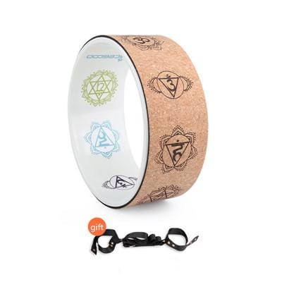Cork Yoga Circle Painted Inner Laser Engraving Round Exercise Wheel Sports Bodybuilding Sliming Tool Clear