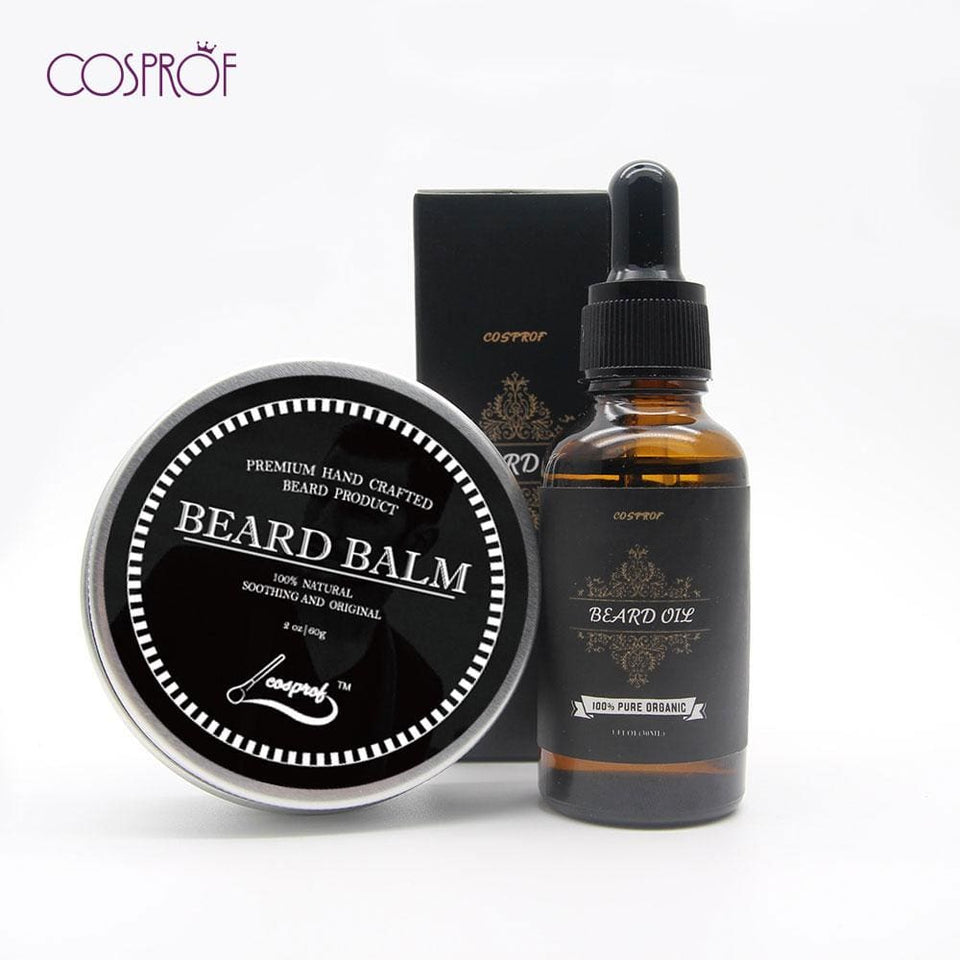 Cospof Beard Balm Moustache Cream Beard Oil Set Conditioner Beard Balm Healthy Moisturizing