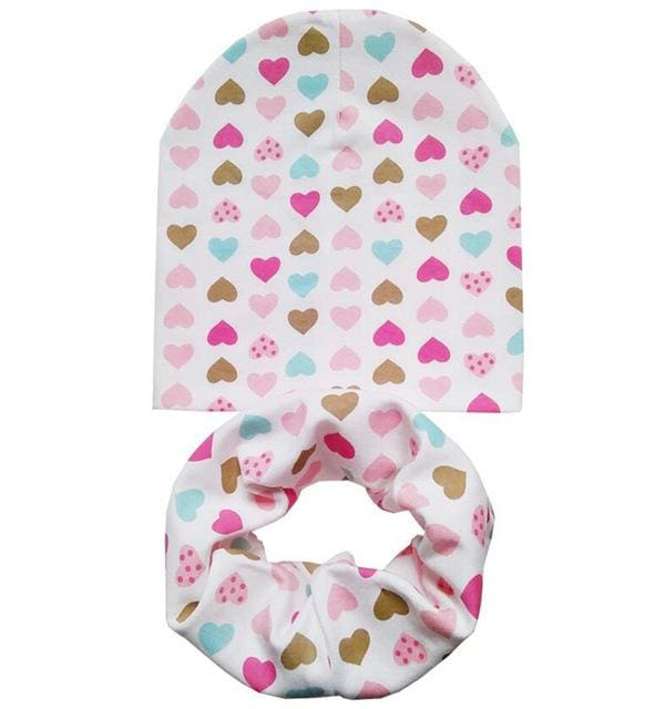 Cotton Baby Hat Set Ice Cream Love Print Cotton Cap Baby Hats Newborn Hat Children Scarf Collar Boys