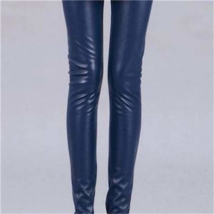 Cuhakci 2017 Free Dropshipping Women Hot Sexy Black Wet Look Faux Leather Leggings Slim Shiny Pants K013 Navy / S