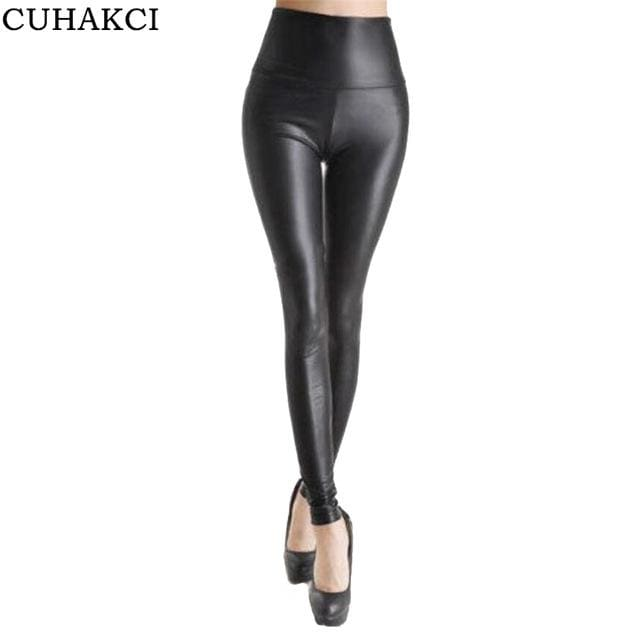 CUHAKCI 2017 Free dropshipping Women Hot Sexy Black Wet Look Faux Leather Leggings Slim Shiny Pants