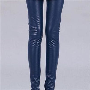 Cuhakci 2017 Free Dropshipping Women Hot Sexy Black Wet Look Faux Leather Leggings Slim Shiny Pants K013 Black / S