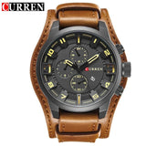 CURREN 8225 Men Watch Brand Luxury Military Quartz Mens Watches Waterproof Leather Wristwatch Sport Brown Yellow / China