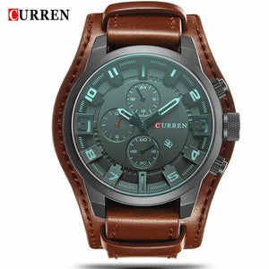 CURREN 8225 Men Watch Brand Luxury Military Quartz Mens Watches Waterproof Leather Wristwatch Sport Brown / China