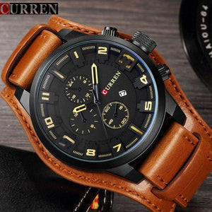 CURREN 8225 Men Watch Brand Luxury Military Quartz Mens Watches Waterproof Leather Wristwatch Sport - MBMCITY