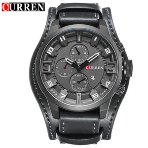 CURREN 8225 Men Watch Brand Luxury Military Quartz Mens Watches Waterproof Leather Wristwatch Sport Black White / China