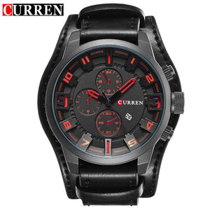 CURREN 8225 Men Watch Brand Luxury Military Quartz Mens Watches Waterproof Leather Wristwatch Sport Black Red / China