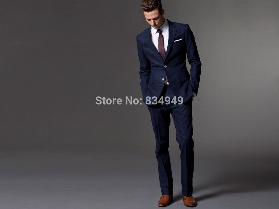 Custom Made Dark Blue Men Suit, Tailor Made Suit, Bespoke Light Navy Blue Wedding Suits For Men, - MBMCITY
