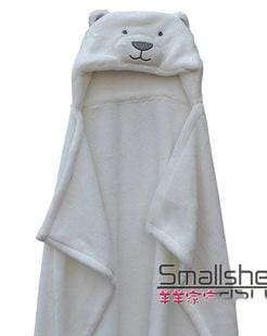 Cute Animal Shape Baby Hooded Bathrobe Bath Towel Baby Fleece Receiving Blanket Neonatal Hold To Be White Bear