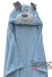 Cute Animal Shape Baby Hooded Bathrobe Bath Towel Baby Fleece Receiving Blanket Neonatal Hold To Be Blue Dog