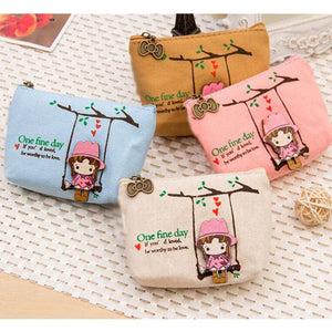 Cute Canvas Coin Bag Lovely Girls The Swing Holder Purse Small Zipper Wallet Card Purse Zip Key Case - MBMCITY