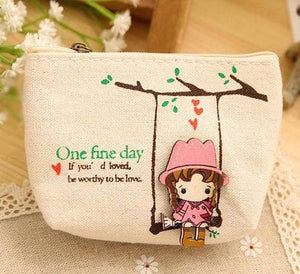 Cute Canvas Coin Bag Lovely Girls The Swing Holder Purse Small Zipper Wallet Card Purse Zip Key Case Blue