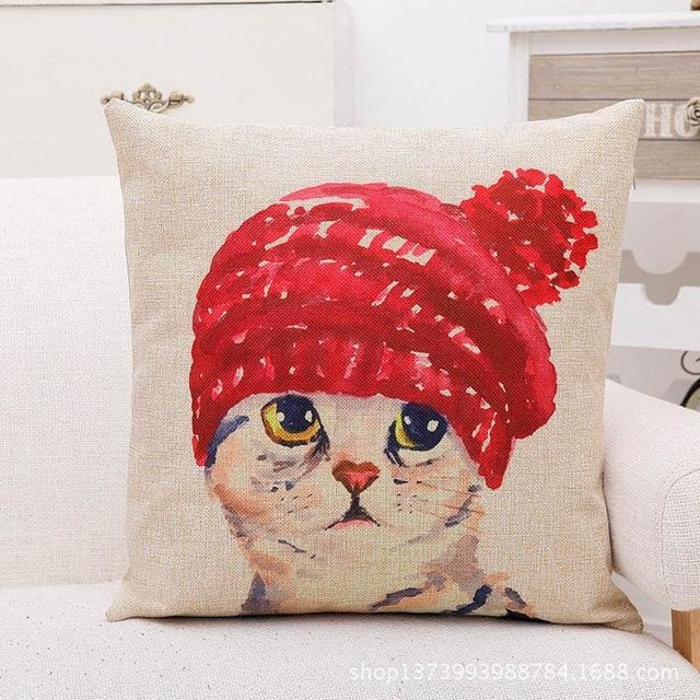 Cute Lovely Cat Decorative Cushion Cover Cotton Linen Square Throw Pillow Cover 45X45Cm Pillow Case 450Mm*450Mm / No3
