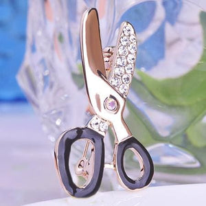 Cute Scissors Rhinestone Brooch Female Occupational Corsage Black Enamel Gold-Olor Suit Collar Clips Rhodium Plated