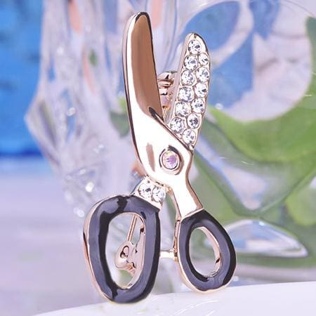 Cute Scissors Rhinestone Brooch Female Occupational Corsage Black Enamel Gold-Olor Suit Collar Clips 18K Gold Plated