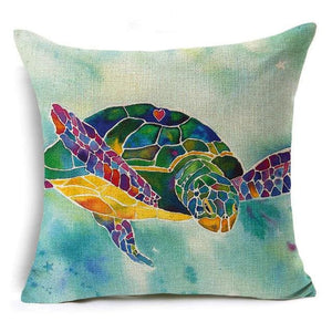 Cute&Lovely Cotton Linen Pillow Case Sea Pillow Case 18x18 inches Animal Turtle Waist Throw Pillow - MBMCITY